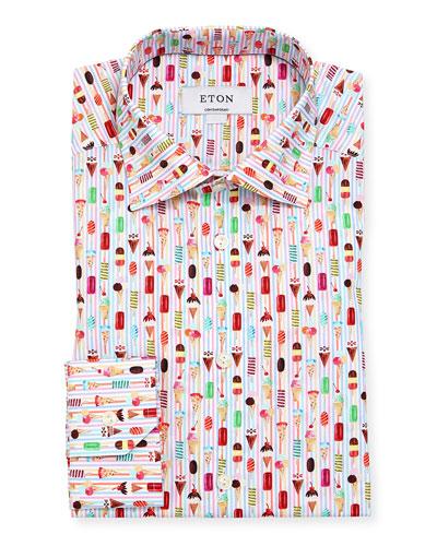 Ice Cream Striped Cotton Dress Shirt