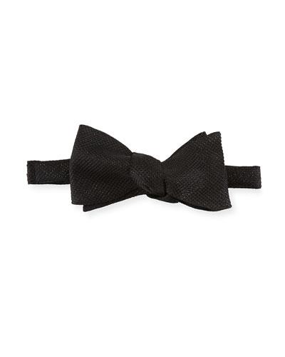 Metallic-Knit Bow Tie, Black