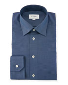 Slim-Fit Texture Diamond-Pattern Dress Shirt, Blue