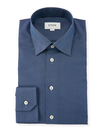 Slim-Fit Texture Diamond-Pattern Dress Shirt, Blue