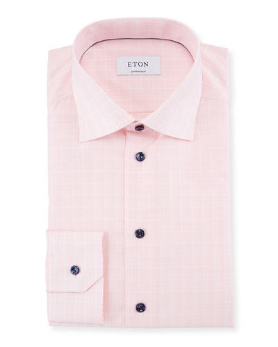 Contrast-Button Plaid Dress Shirt