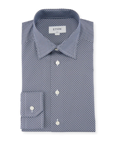 Peacock-Print Cotton Dress Shirt