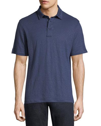 Solid Linen Polo Shirt