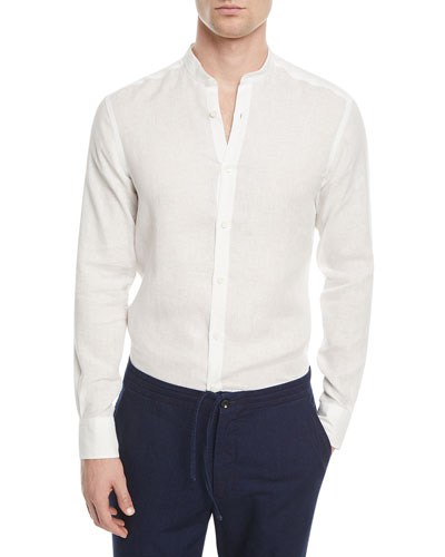 Linen Band-Collar Sport Shirt