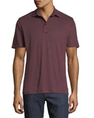 Solid Linen Polo Shirt, Brown