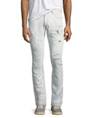 Slim Distressed-Denim Jeans