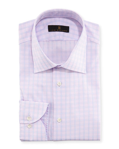 Windowpane Cotton Dress Shirt