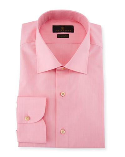 Solid Cotton Barrel-Cuff Dress Shirt