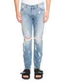 Light-Wash Distressed Jeans