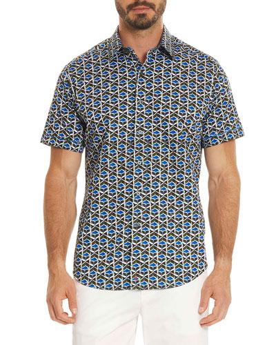 Tames Geometric-Print Short-Sleeve Sport Shirt