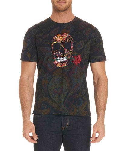 Skull Rose-Graphic Paisley-Print T-Shirt