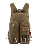 Men's VLTN Logo-Graphic Canvas Backpack