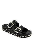 Studded Leather Slide Sandal