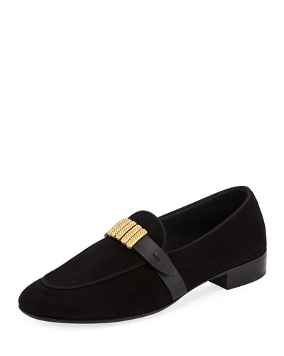 Men's Suede Loafer with Gold Strap