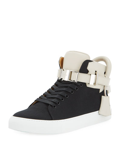Men's 100mm Clip Canvas Mid-Top Sneakers, Black/White
