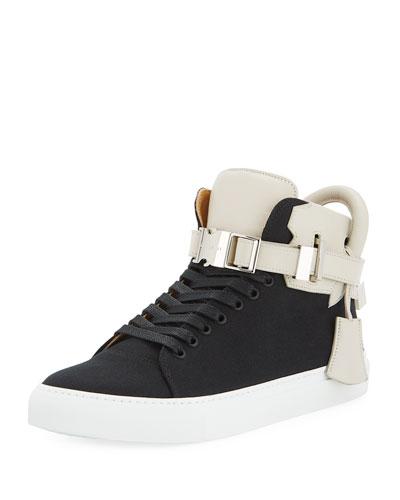 100mm Clip Canvas Mid-Top Sneaker, Black/White