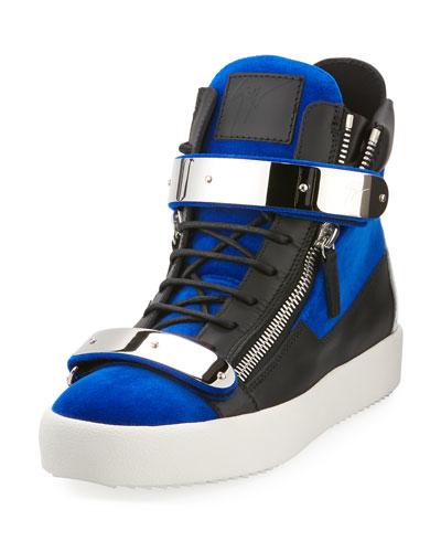 Men's Velvet Double-Bar High-Top Sneaker, Blue