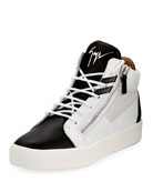 Men's Mid-Top Two-Tone Platform Sneaker, White/Black