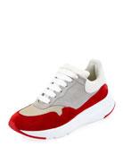 Oversized Leather Runner Sneaker, Red/White