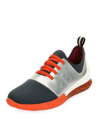 Avro Leather & Neoprene Trainer Sneaker, Silver