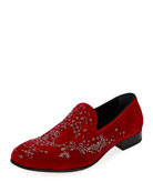 Crystal-Embellished Velvet Formal Slipper