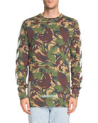 Long-Sleeve Camouflage-Print T-Shirt
