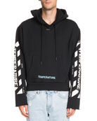 Diagonal-Stripe Temperature Crop Hoodie