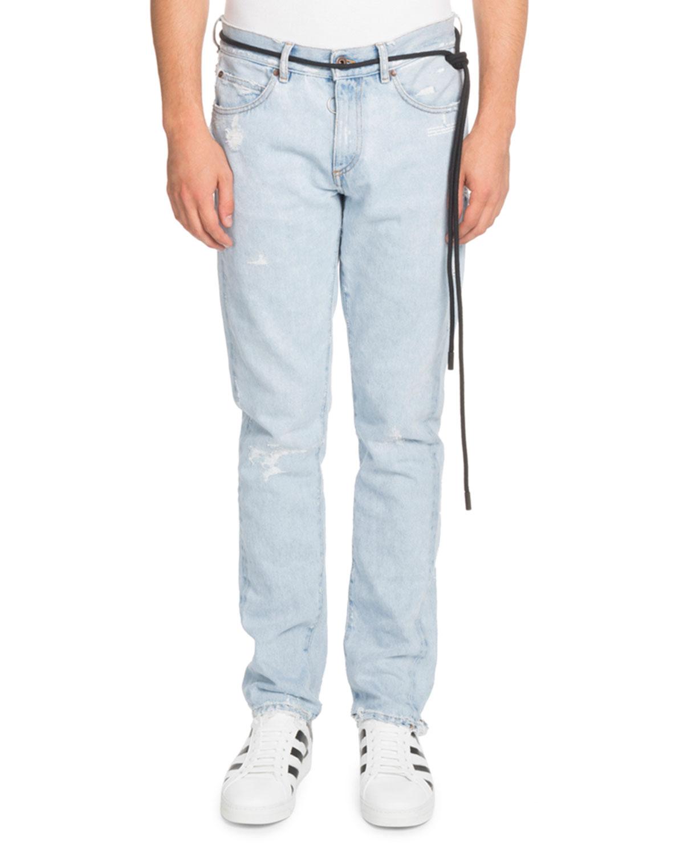 Temperature Slim Bleach-Distressed Jeans