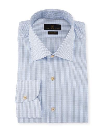 Marcus Grid-Check Cotton Barrel-Cuff Dress Shirt
