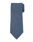 Flag-Pattern Silk Tie, Blue