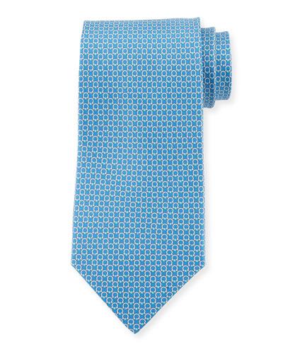 Gancini Bit Silk Tie, Blue
