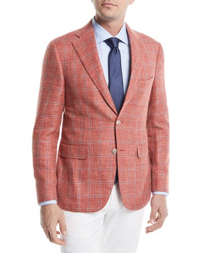 Plaid Two-Button Wool/Linen/Silk Jacket, Coral