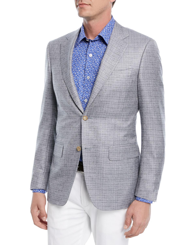 Silk-Cashmere Grid-Textured Blazer