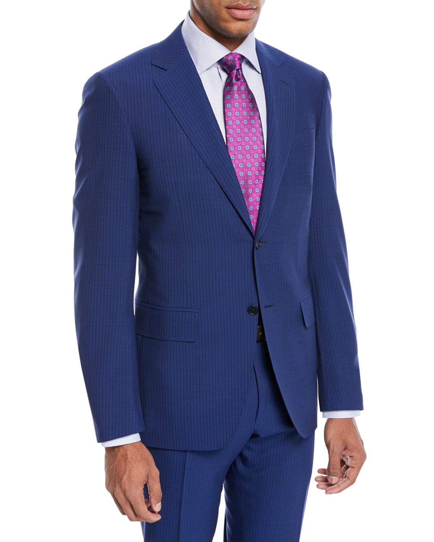 Double-Stripe Wool Two-Piece Suit