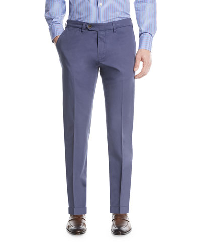 Stretch-Cotton Flat-Front Dress Pants, Blue