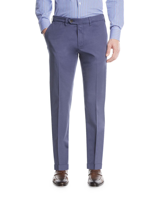 Stretch-Cotton Flat-Front Dress Pants, Blue