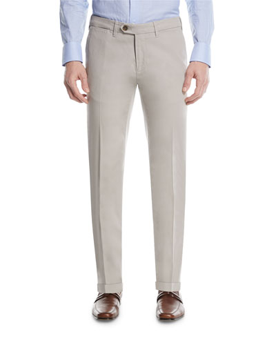Stretch-Cotton Flat-Front Dress Pants, Stone