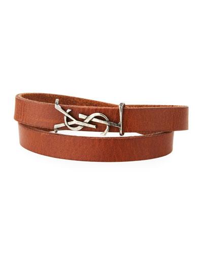 Men's Leather Wrap Bracelet w/ Logo, Dark Brown