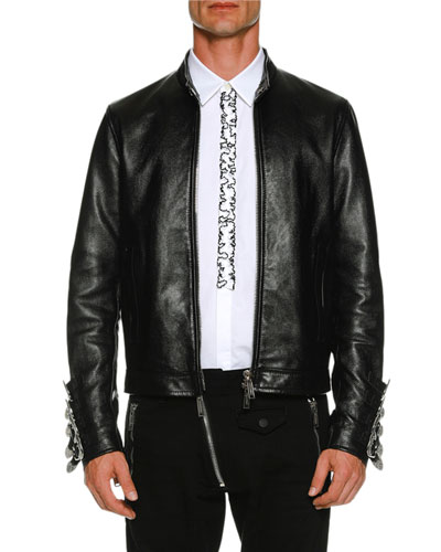 Leather Biker Jacket w/ Buckle Cuffs