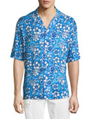 Hibiscus-Print Short-Sleeve Shirt