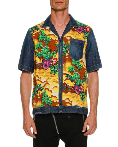 Denim & Hawaii-Print Bowling Shirt