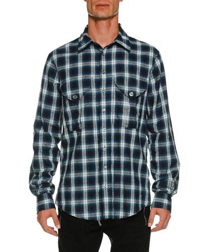 Military Long-Sleeve Check Shirt