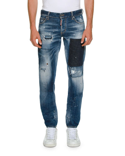 Patchwork Distressed Slim-Fit Jeans