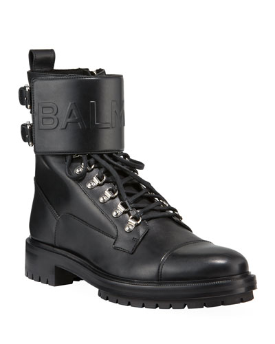 Logo-Embossed Leather Military Boot in Black