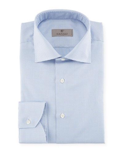 Houndstooth Dress Shirt, Blue