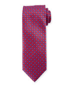 Boxed Floral Silk Tie, Red