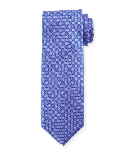 Boxed Floral Silk Tie, Purple