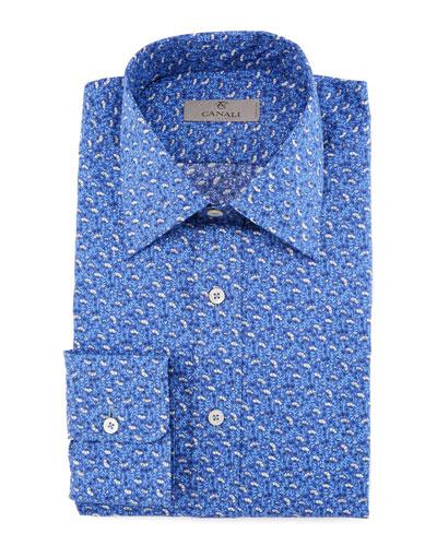 Mini-Floral Cotton Dress Shirt