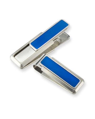 M CLIP BLUE-INSET MONEY CLIP
