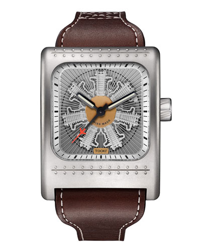 Radial C47W Leather Watch, Silver
